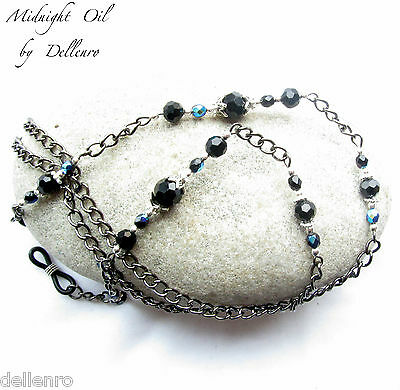 ✫Midnight Oil✫ Black Beaded Glasses Spectacles Eyeglasses Chain Holder Cord