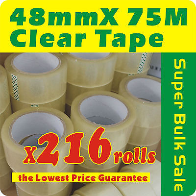 216 x Rolls Clear Sealing Packaging Tape 48mm x 75m 45 Micron