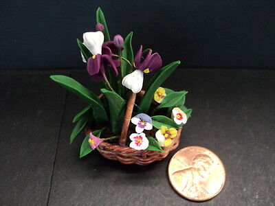 Dollhouse  Flowers In Basket/ Multi Color