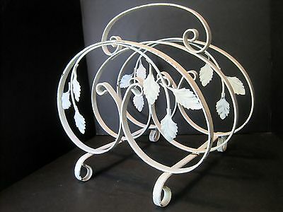 VTG 1940-1950s MID CENTURY~SOLID WROUGHT IRON METAL SCROLL & LEAF~MAGAZINE RACK