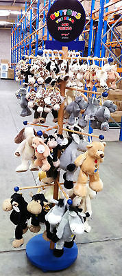 Humatts Buttons The Bear & 50 Plush Toy Collection & 6 Foot Wooden Display Stand