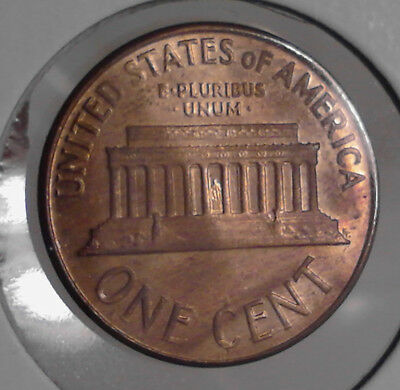 1964-D LINCOLN CENT end-roller RAINBOW toned GEOMETRIC pattern BU