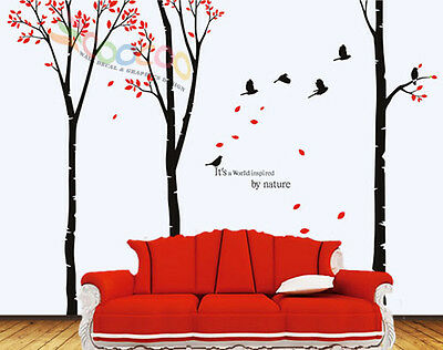 """Wall Decor Decal Sticker Removable large 90"""" birch tree birds wit fallen leaves"""