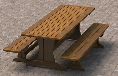 8ft Trestle Style Picnic Table with Benches 002 Building Plans - Easy to Build