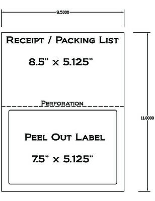 1000 Laser /Ink Jet Labels for use with FedEx, UPS, PayPal Tear Off Receipt 5127