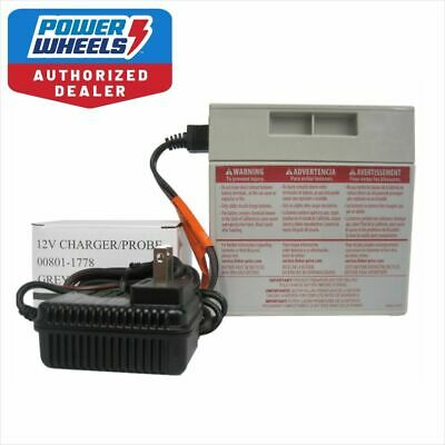 Power Wheels 12V Gray Battery 00801-0638 + 12 VOLT Charger Fisher Price