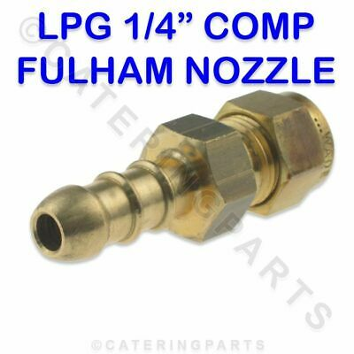 "LPG FULHAM NOZZLE 1/4"" COMPRESSION X 10mm OD BRASS NIPPLE FOR 8mm BORE GAS PIPE"