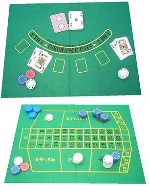 Light Green Baize Layout for ROULETTE - Also Reversable for Black Jack