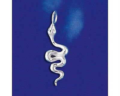 Sterling Silver Snake Pendant Python Boa Serpent Reptile Charm Solid 925 Italy