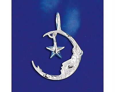 Sterling Silver Crescent Moon Hanging Star Pendant Italian Charm Solid 925 Italy