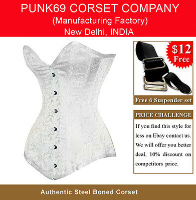 New Fully Steel Boned Extra Long White Brocade Corset Tight Lacing