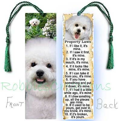 BICHON FRISE Large BOOKMARK Dog RULES Property Laws Book Mark Art Figurine CARD