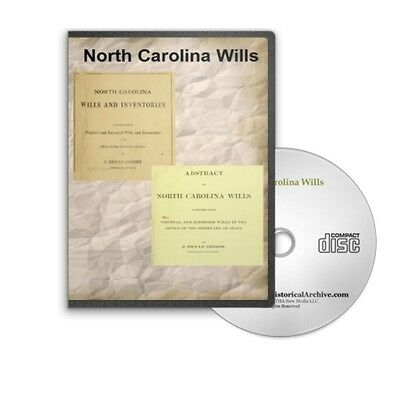 North Carolina Wills Historic Book Collection on CD - D455