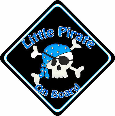 Non Pers Baby On Board Car Sign New Little Pirate Red//b