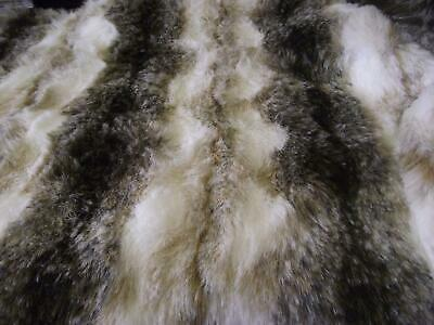 LUXURY Animal Faux Fur Fabric Material BROWN & WHITE WOLF