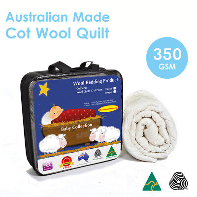 Aus Made Baby Cot Wool Quilt / Duvet 350GSM-100% Natural Fibre-Baby Gift