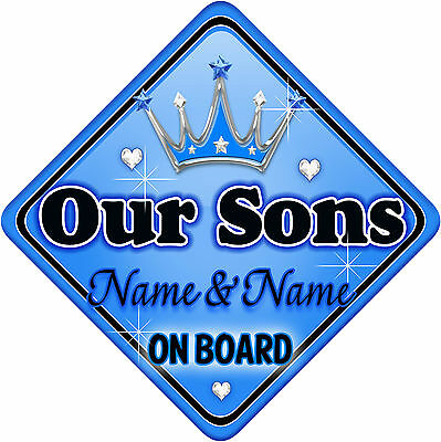Personalised Baby On Board Car Sign Blue ~ Silver Our Sons New! MYCR