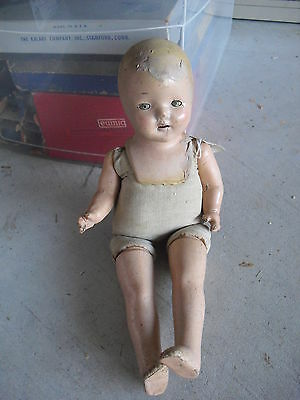 """Antique Unmarked Composition Cloth Character Girl Doll 16"""" Tall"""