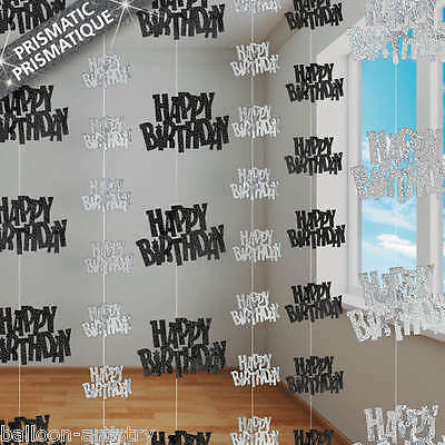 13th-100th Happy Birthday 5ft String Strings Glitz Boy Girl Party Decorations