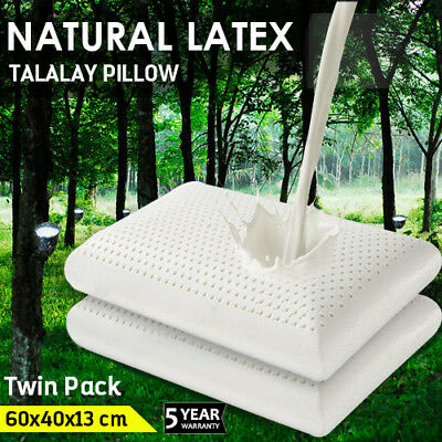 2x 100% NATURAL TALALAY LATEX PILLOW SLEEPING SUPPORT - FINE WHITE STRETCH COVER