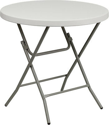 32'' Round White Plastic Standard Height Cocktail Reception Folding Table