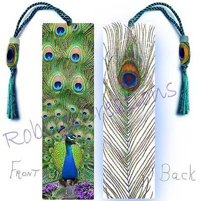 PEACOCKS Large BOOKMARK w/Bead TASSEL Peafowl Tail Feather Peacock Bird Art Card