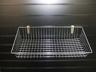 Heavy Duty Chrome Slatwall Slanted Mesh Display Storage Basket Shop Shelving x 2