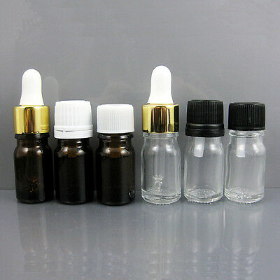1-100pcs Glass Bottle Essential Oil Aromatherapy Cosmetic 3 Kinds Screw Cap 5ml