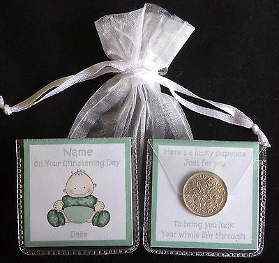 Personalised Lucky Sixpence Christening Naming Day Baby Boy Girl Unique Gift