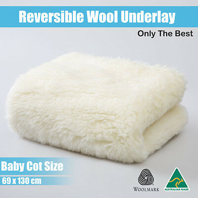 Aus Made Baby Cot Reversable Wool Underblanket/Underlay/Topper-100%Natural Fibre