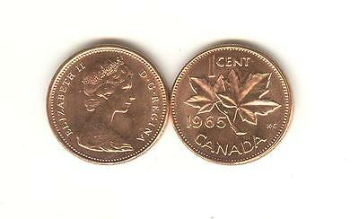 1965 Canada Small Cent Choice BU scarcer LARGE BEADS, BLUNT 5 variety