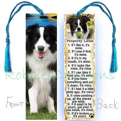 BORDER COLLIE Large BOOKMARK w/Tassel Dog RULES Property Law  Book Mark Art CARD