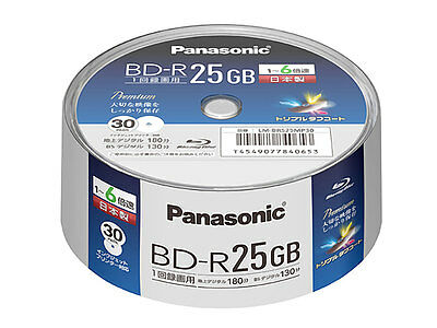 Japan 30 Panasonic Bluray BD-R 25GB 6X Speed Printable Blu ray Original Spindle