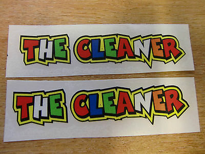"""Valentino Rossi style text - """"THE CLEANER""""  x2 stickers / decals  - 5in x 1in"""
