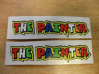 """Valentino Rossi style text - """"THE PAINTER""""  x2 stickers / decals  - 5in x 1in"""