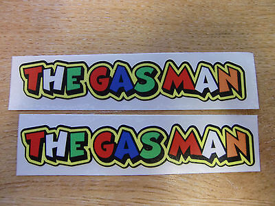 "Valentino Rossi style text - ""THE GAS MAN""  x2 stickers / decals  - 5in x 1in"