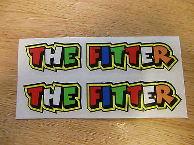 "Valentino Rossi style text - ""THE FITTER""  x2 stickers / decals  - 5in x 1in"