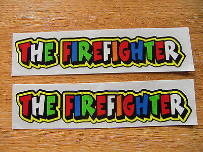 "Valentino Rossi style text  ""THE FIREFIGHTER""  x2 stickers / decals  - 5in x 1in"