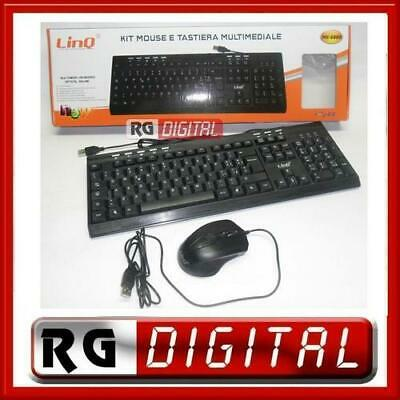 KIT TASTIERA E MOUSE USB CON FILO 2in1 MULTIMEDIALE  113 TASTI LINQ MK-6880