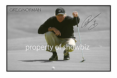 * GREG NORMAN * large autographed poster photo print!! perfect for golf fans!!