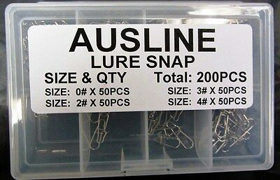 200 X Fishing Lure Snap in 4 Sizes For All fishing needs, Fishing Tackle Special