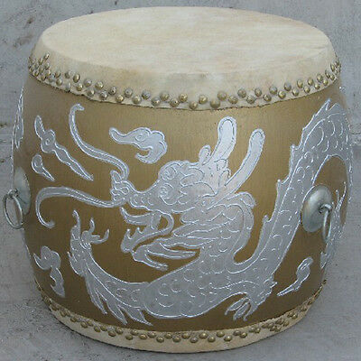 LARGE Chinese Dragon Style Poplar Wood Leather Drum Percussion (Low War Drum)