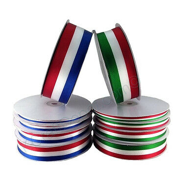 American or Mexican Flag Stripes Satin Ribbon 100% Polyester 50 or 25 yard Roll