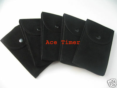 Pack of 5 Black Velvet Watch Pouch w/ Divider Fit Rolex & Others Watches