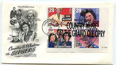 2771-74 Country & Western Singers Artcraft plate block FDC