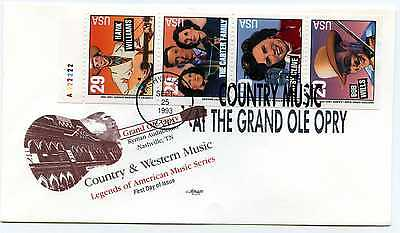 2778a Country & Western Singers Artmaster pane of 4 with tab, FDC