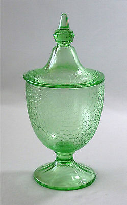 L.E. Smith Green Depression Crackle Candy Jar & Lid - Molded