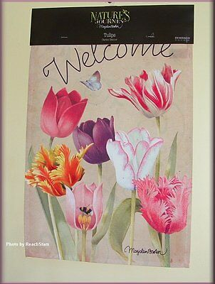 TULIPS GARDEN FLAG WELCOME BANNER MARJOLEIN BASTIN NATURES JOURNEY FREE SHIPPING