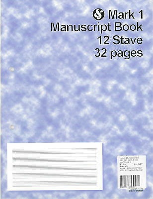Mark 1 Manuscript Book 12 Stave 32 pages *NEW* music, musical, notation, paper