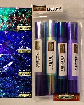 M00396 MOREZMORE Angelina Fantasy Fusible OOAK Wings Film 4 Color Sampler BLUES